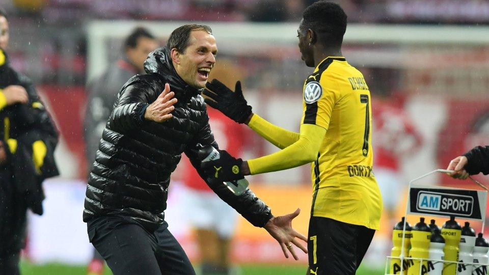 Förderer beim BVB: Ousmane Dembélé (r.) mit Trainer Thomas Tuchel.