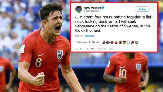 Beim Spiel zwischen England und Schweden bei der WM 2018 wurde ein angeblicher Tweet von Harry Maguire zum viralen Hit.