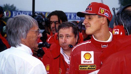 Bernie Ecclestone, Jean Todt und Michael Schumacher.