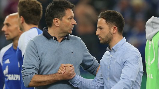 Hand drauf: Schalkes Sportvorstand Christian Heidel (l.) und Trainer Domenico Tedesco hoffen auf die Wende.