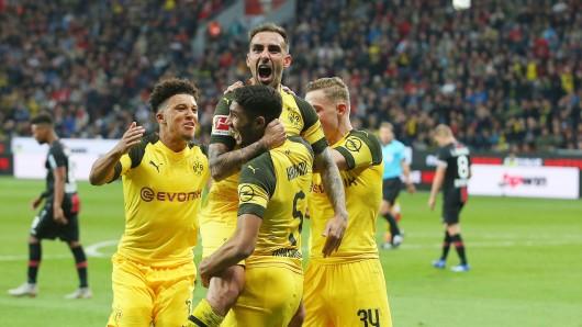 firo : 29.09.2018, Fu§ball,1.Bundesliga, Saison 2018/2019, Bayer 04 Leverkusen - BVB, Borussia Dortmund 2:4 Jubel zum 2:3 durch Paco ALCACER, BVB mit HAKIMI $worldrights,Es gelten unsere AGB, einsehbar auf www.firosportphoto.de, copyright by firo sportphoto: Coesfelder Str. 207 D-48249 DŸlmen www.firosportphoto.de mail@firosportphoto.de (V o l k s b a n k B o c h u m - W i t t e n ) BLZ.: 430 601 29 Kt. Nr.: 341 117 100 Tel:Ê +49-2594-9916004 Fax:Ê+49-2594-9916005