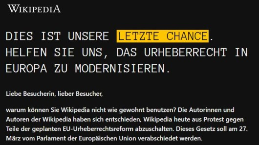 Wer Wikipedia am Donnerstag aufruft, stößt auf diese Protest-Aktion.