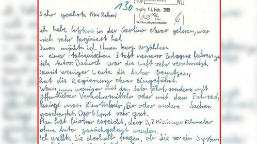 Mit diesem Brief an Kölns Oberbürgermeisterin Henriette Reker hat der Zehnjährige für ein Novum gesorgt.