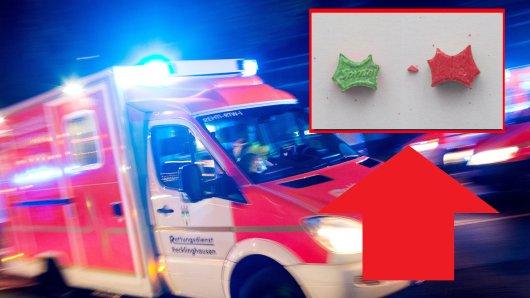 Ein Jugendlicher ist in Leverkusen nach Drogenkonsum gestorben. Eine gefährliche Pille, die bei ihm gefunden wurde ist rot-grün gefärbt.