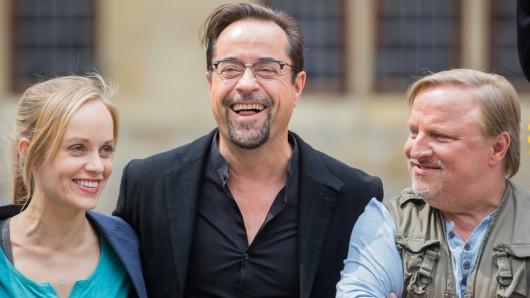 """Das Team vom """"Tatort"""" in Münster: Friederike Kempter, Jan Josef Liefers und Axel Prahl (rechts)."""