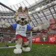 Maskottchen Zabivaka begrüßt im Sommer die Fußballwelt in Russland.