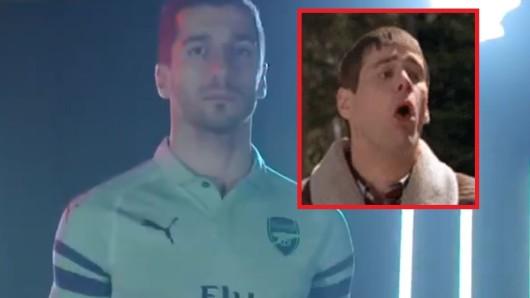 Ex-BVB-Star Henrikh Mkhitaryan präsentiert das neue Arsenal-Trikot. Viele Fans finden es ziemlich hässlich.