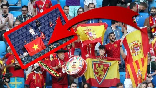 Bei der EM 2021 wunderten sich viele Fans bei Schweiz - Spanien über Vietnam-Fahnen.