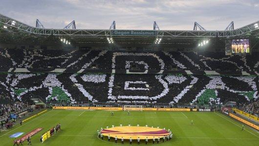 Mönchengladbach 18 09 2014 Borussia Park Gladbach Choreographie VfL Borussia Mönchengladbach Vil