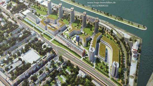 Planung für einen Wohn- und Gewerbepark am Rhein in Duisburg.