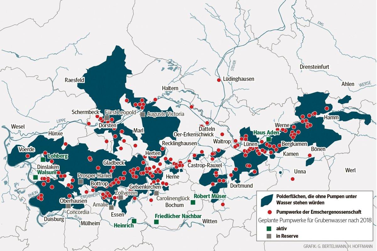 Karte Ruhrgebiet Städte.Warum Das Ruhrgebiet Ohne Pumpen Eine Seenplatte Wäre Rhein Und