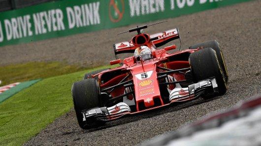 Sebastian Vettel landete bei der Qualifikation zum Rennen in Suzuka im Kiesbett.