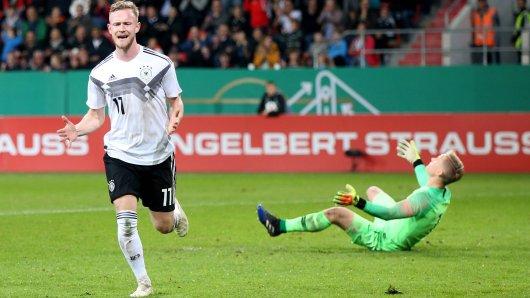 Cedric teuchert traf zum 1:0 gegen Norwegen.