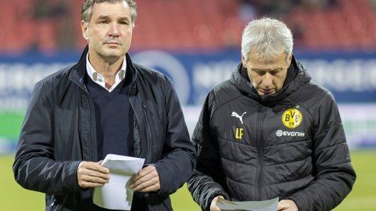 Michael Zorc (li.) und Lucien Favre: Haben die BVB-Verantwortlichen Julian Brandt auf dem Zettel? Dann gibt es jetzt wohl Konkurrenz aus Madrid.