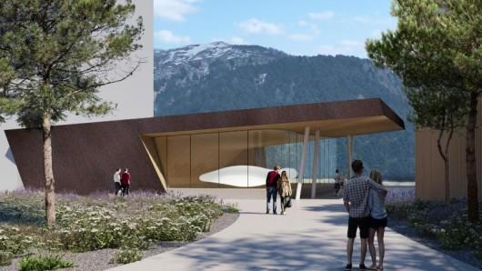 So soll die neue Konzerthalle inAndermatt von außen aussehen.