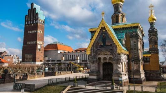 Die Mathildenhöhe in Darmstadt gehört zu den Touristenmagneten. Hunderttausende besuchen das Jugendstilensemble jährlich.