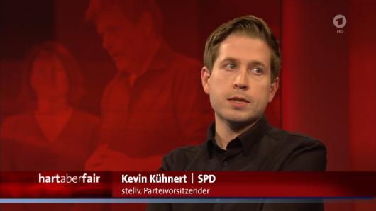 "SPD-Politiker Kevin Kühnert in der ARD-Talkshow ""Hart aber fair"" (ARD)."