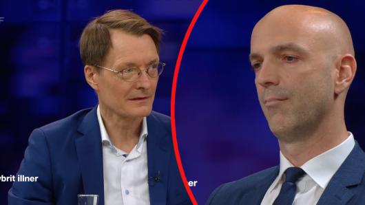 """Karl Lauterbach und Virologe Jonas Schmidt-Chanasit geraten bei """"Maybrit Illner"""" aneinander."""