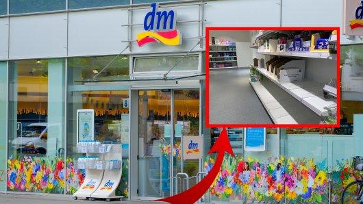 dm in Düsseldorf: Kunden sind verwundert über mehrere völlig leere Regale. (Symbolbild)