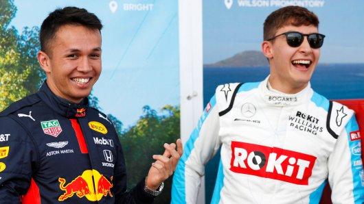 Formel 1: George Russell (r.) und Alex Albon waren beim Virutell-GP vorne dabei.