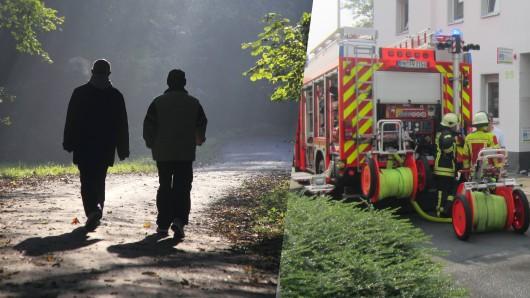 Die Feuerwehr Mülheim spritzte die beiden Opfer mit dem Schlauch ab.