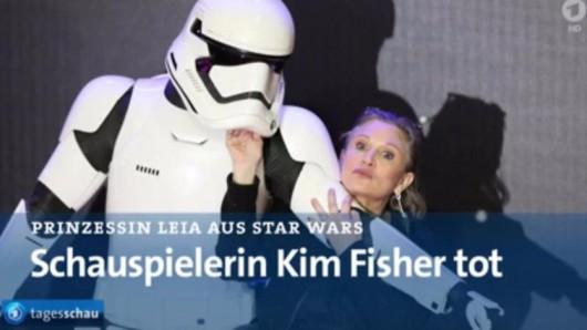 """Die """"Tagesschau"""" berichtete über den Tod von Carrie Fisher - mit einer kleinen Verwechslung."""