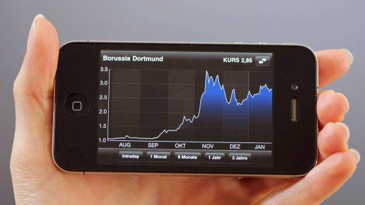 Auf einem Handydisplay ist der Kursverlauf der BVB-Aktie zu sehen (Archivfoto).