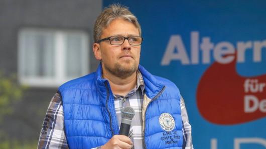 Guido Reil bei einer AfD-Wahlkampfveranstaltung auf dem Marktplatz in Essen-Altenessen.