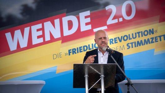Landes- und Fraktionsvorsitzender der AfD Brandenburg Andreas Kalbitz während einer Rede in Cottbus.