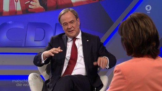 Musste immer wieder Fragen zu Markus Söder beantworten: Armin Laschet bei Sandra Maischberger (ARD).