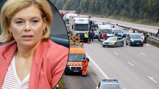Die Polizei sperrte die A3 in beiden Richtungen. Es kam zu einem verheerenden Unfall am Stauende. Bundesministerin Julia Klöckner ist entsetzt.