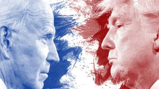Blau oder rot: Joe Biden oder Donald Trump in den Parteifarben der Demokraten und Republikaner.