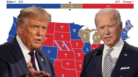 Donald Trump und Joe Biden: Enges Rennen bei der US-Wahl 2020.