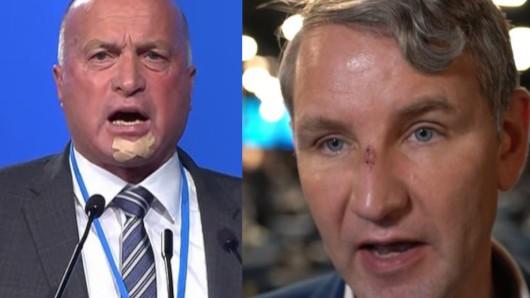 NRW-Parteichef Rüdiger Lucassen (links) und Björn Höcke, AfD-Fraktionsvorsitzender in Thüringen.