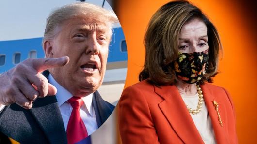 Donald Trump und Nancy Pelosi, Sprecherin des US-Repräsentantenhauses. Sie strebt sein Amtsenthebungsverfahren an.