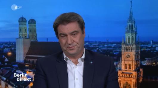 """Ein Zuschauer schaute genau hin und bemerkte einen Fehler im Söder-Interview bei """"Berlin direkt""""."""
