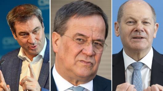 Wollen sich als Corona-Krisenmanager profilieren: Markus Söder, Armin Laschet und Olaf Scholz.
