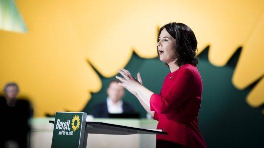 Annalena Baerbock auf dem digitalen Parteitag der Grünen – für eine neue Werbeanzeige hat die Partei Spott kassiert.