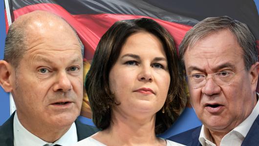 Die Kanzlerkandidaten: Olaf Scholz, Annalena Baerbock, Armin Laschet.