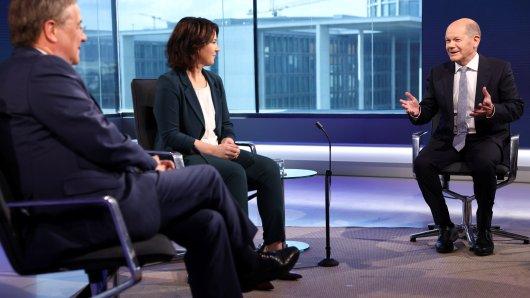 Wollen alle Angela Merkel beerben: Armin Laschet (CDU), Annalena Baerbock (Grüne) und Olaf Scholz (SPD) (v.l.).