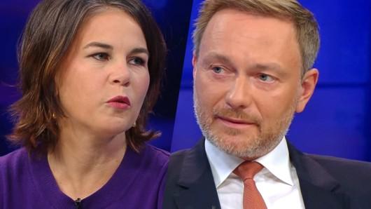 Öffentliche Koalitionsverhandlung bei Maybrit Illner (ZDF): Annalena Baerbock und Christian Lindner.