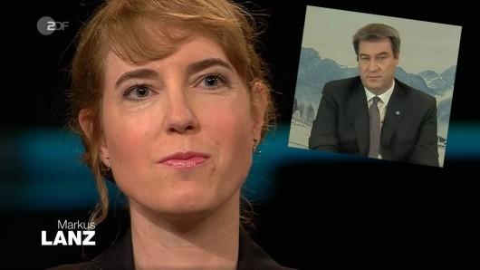 Während Journalistin Anna Clauß live im Lanz-Studio war, wurde Markus Söder per Videostream dazugeschaltet.