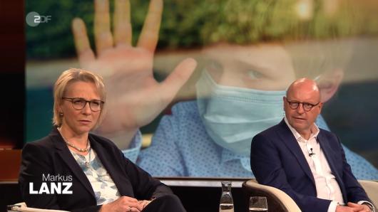 In der ZDF-Talkshow dreht sich mal wieder alles um das Thema Corona-Lockdown. Neben CDU-Politiker Markus Lewe (r.) ist auch Kinderärztin Dr. Tanja Brunnert (l.) zu Gast.