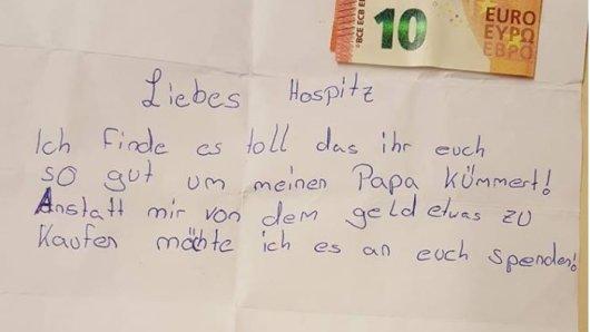 Einen emotionalen Brief erhielt ein Hospiz in Herne.
