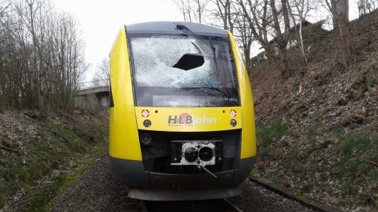Die Frontscheibe des Zuges der Hessischen Landesbahn war nach dem Anschlag in Bad Berleburg (NRW) schwer beschädigt.