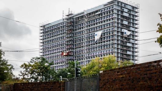 Die Fassade des Bochumer Thyssenkrupp-Hochhauses am 9. Oktober 2019.