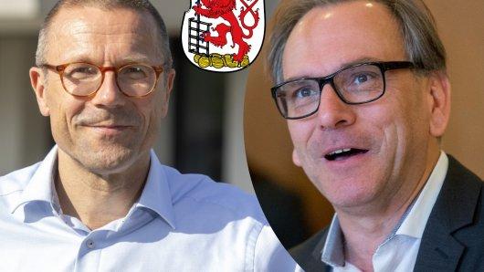 Spannende OB-Stichwahl in Wuppertal: Prof. Dr. Uwe Schneidewind (links) fordert Andreas Mucke heraus.
