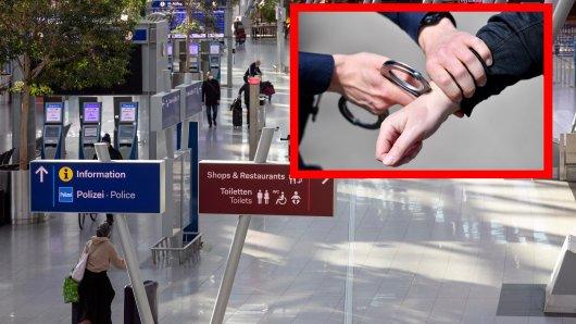 Am Flughafen Düsseldorf klickten die Handschellen. (Symbolbild)