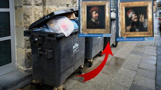 A7: In einem Müllcontainer hat ein Mann auf der A7 einen echten Schatz entdeckt (Montage mit Symbolbild).