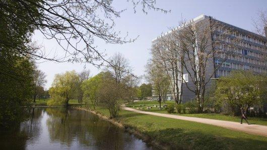 Die Parkanlage am Oberlandesgericht Hamm. Hier wurde am Ufer des Teichs eine halbnackte Frauenleiche gefunden. (Archivfoto)